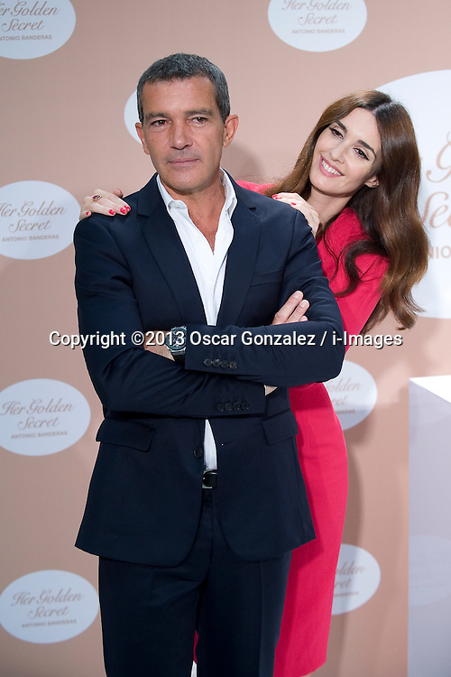 Antonio Banderas Fragrance Launch. <br /> Actor Antonio Banderas and actress Paz Vega present 'Her Golden Secret' fragrance at Instituto Cervantes, Madrid, Spain. Tuesday, 10th September 2013. Picture by Oscar Gonzalez / i-Images<br /> SPAIN OUT