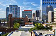 Skyhouse, RedHat and PNC buildings highlight this view of downtown Raleigh, North Carolina
