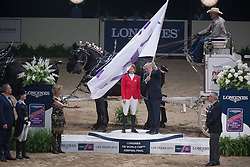 FEI flag, Madden Beezie, (USA) <br />  Longines FEI World Cup™ Jumping Final Las Vegas 2015<br />  © Hippo Foto - Dirk Caremans<br /> Final III round 2 - 20/04/15
