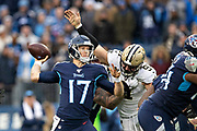 NASHVILLE, TN - DECEMBER 22:  Ryan Tannehill #17 of the Tennessee Titans throws a pass under pressure from Trey Hendrickson #91 of the New Orleans Saints at Nissan Stadium on December 22, 2019 in Nashville, Tennessee. The Saints defeated the Titans 38-28.  (Photo by Wesley Hitt/Getty Images) *** Local Caption *** Ryan Tannehill; Trey Hendrickson