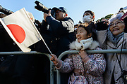 "Well-wishers shout ""banzai"" (cheers) for Japan's Emperor Akihito during a public appearance for New Year celebrations at the Imperial Palace in Tokyo, Japan, January 2, 2018. 02/01/2018-Tokyo, JAPAN"