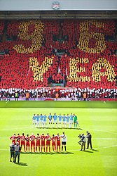 13.04.2014, Anfield, Liverpool, ENG, Premier League, FC Liverpool vs Manchester City, 34. Runde, im Bild Liverpool fans on the Spion Kop create a mosaic remembering the 96 victims of the Hillsborough Stadium Disaster // during the English Premier League 34th round match between Liverpool FC and Manchester City at Anfield in Liverpool, Great Britain on 2014/04/13. EXPA Pictures © 2014, PhotoCredit: EXPA/ Propagandaphoto/ David Rawcliffe<br /> <br /> *****ATTENTION - OUT of ENG, GBR*****