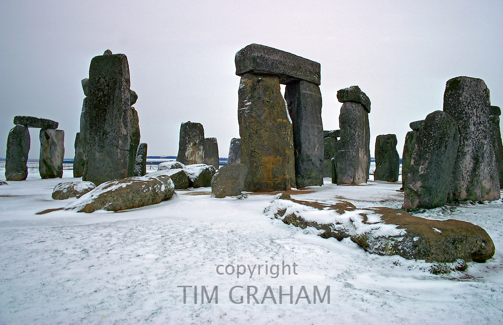 Stone Henge in the winter, Wilthshire, England.