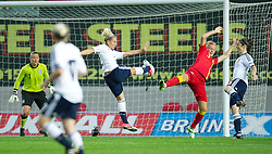 LLANELLI, WALES - Saturday, September 15, 2012: Wales' Sophie Ingle in action against Scotland's Rhonda Jones during the UEFA Women's Euro 2013 Qualifying Group 4 match at Parc y Scarlets. (Pic by David Rawcliffe/Propaganda)