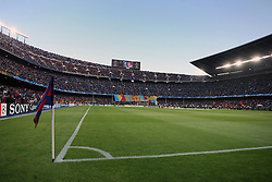 FC Barcelona fans hold up a large banner in the Camp Nou Stadium, home of FC Barcelona