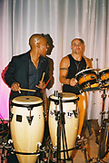 Percussionists performing on drums, Posh at Addington Palace, UK, August, 2004