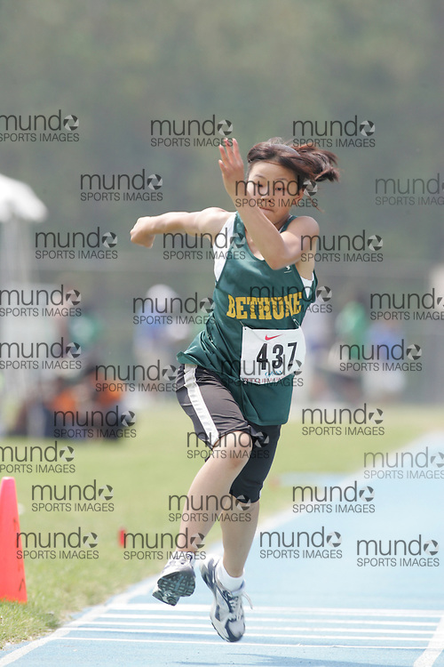 Jamie Liang competing in the midget girls triple jump final at the 2007 OFSAA Ontario High School Track and Field Championships in Ottawa.