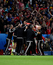 Wales players and coaching staff celebrate the goal from Hal Robson-Kanu of Wales  - Mandatory by-line: Joe Meredith/JMP - 01/07/2016 - FOOTBALL - Stade Pierre Mauroy - Lille, France - Wales v Belgium - UEFA European Championship quarter final