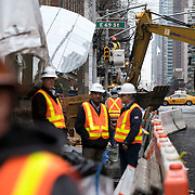 December 12, 2016 - New York, NY :  New lighting is installed above ground, outside the 72nd Street Second Avenue station at East 69th and Second Ave., on Monday morning, as part of the Second Avenue  subway project. After years of delays, the new subway line is preparing to welcome its first straphangers. CREDIT: Karsten Moran for The New York Times