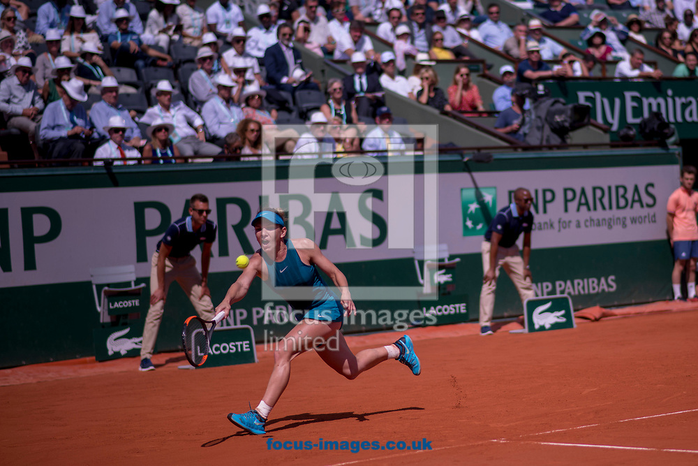 Simona Halep on Day Twelve of the ATP French Open Tennis Championship 2018 at Roland Garros, Paris<br /> Picture by EXPA Pictures/Focus Images Ltd 07814482222<br /> 07/06/2018<br /> *** UK &amp; IRELAND ONLY ***<br /> <br /> EXPA-THI-180607-0111.jpg