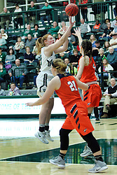 BLOOMINGTON, IL - December 15: Maddie Merritt during a college women's basketball game between the IWU Titans  and the Carroll Pioneers on December 15 2018 at Shirk Center in Bloomington, IL. (Photo by Alan Look)