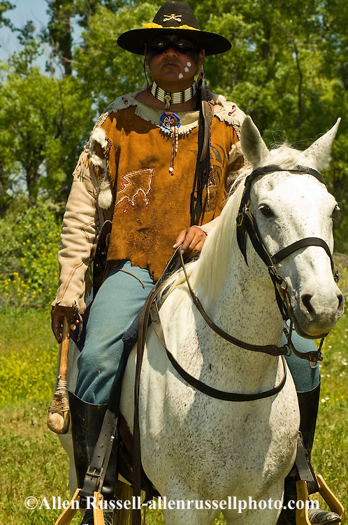 Battle of the Little Bighorn Reenactment, Custers Last Stand, Crow Indian Reservation, Montana, LeRoy Longknife Jr. portrays Bloody Knife, Arikara Sioux, 7th Cavalry scout, <br /> MODEL RELEASED