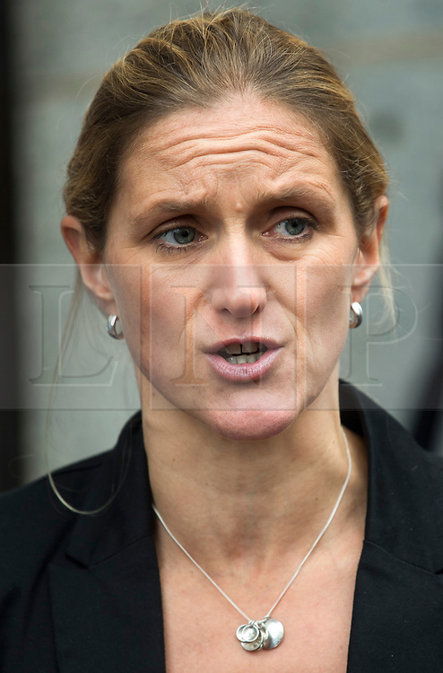 © Licensed to London News Pictures. 23/11/2016. London, UK. KIM LEADBEATER, sister of Jo Cox, reads a statement outside the Old Bailey in London where a guilty verdict was returned in the murder trial of Labour MP Jo Cox. Thomas Mair was found guilty of shooting and stabbing the mother-of-two in Birstall, West Yorkshire, on 16 June. Photo credit: Ben Cawthra/LNP