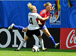 20.07.2010, , Augsburg, GER, FIFA U-20 Frauen Worldcup, Frankreich vs Deutschland, im Bild Kelly GADEA (St. Etienne FRA #4) stoppt Fanny TENRET (Rodez Aveyron FRA #11) unfair, EXPA Pictures © 2010, PhotoCredit: EXPA/ nph/  Roth+++++ ATTENTION - OUT OF GER +++++ / SPORTIDA PHOTO AGENCY