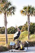 Pelican sculpture made from recycled plastic trash at Shem Creek Park in Mount Pleasant, South Carolina.