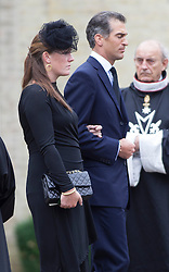 BRENTWOOD - UK - 11- SEPT - 2013: Britain's Prince Charles, The Prince of Wales,accompanied by Camilla, The Duchess of Cornwall and his sons Prince WIlliam and Prince Harry attend the funeral of Charles's close friend Hugh Van Cutsem at Brentwood Cathedral in Essex.<br /> Van Cutsem  family leave the Cathedral at the end of the service<br /> Photo by Ian Jones