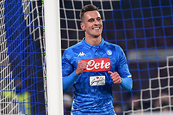 January 13, 2019 - Naples, Naples, Italy - Arkadiusz Milik of SSC Napoli celebrates after scoring 1-0 during the Coppa Italia match between SSC Napoli and US Sassuolo at Stadio San Paolo Naples Italy on 13 January 2019. (Credit Image: © Franco Romano/NurPhoto via ZUMA Press)