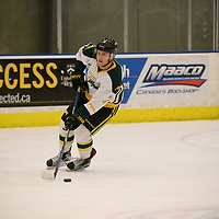 2nd year defence man Tyler King (7) of the Regina Cougars in action during the Men's Hockey home game on November 11 at Co-operators arena. Credit: Arthur Ward/Arthur Images