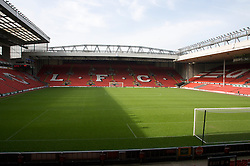 The view of the Anfield pitch from the Anfield Road Lower Stand, centre of Block 125.
