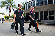 March 28, 2014 - Sepang, Malaysia. Malaysian Formula One Grand Prix. Christian Horner and Adrian Newey<br /> <br /> © Jamey Price / James Moy Photography