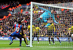 Yannick Bolasie of Crystal Palace scores past Costel Pantilimon of Watford to open the scoring - Mandatory by-line: Robbie Stephenson/JMP - 24/04/2016 - FOOTBALL - Wembley Stadium - London, England - Crystal Palace v Watford - The Emirates FA Cup Semi-Final