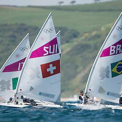 2012 Olympic Games London / Weymouth<br /> Racing day 1 Laser<br /> Laser RadialBRAKostiw Adriana<br /> Laser RadialSUIBrugger Nathalie