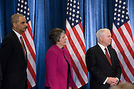 December 1st 2008 - Chicago, IL - Press Conference with newly elected President Barack Obama at the Hilton Hotel in downtown Chicago...Eric Holder Attorney General, Arizona Governor Janet Napolitano Head of Homeland Security and   continuing Secretary of Defense Robert Gates at press conference where Obama announced his security team with Vice President-elect Joe Biden.  Hillary Rodham Clinton was introduced as secretary of state, retired Marine Gen. James Jones as White House national security adviser, Eric Holder as attorney general and Arizona Governor, Janet Napolitano as secretary of homeland security, and United Nations Ambassador Susan Rice. Robert Gates will remain as the defense secretary...Photo Credit: Heather A. Lindquist/Sipa..