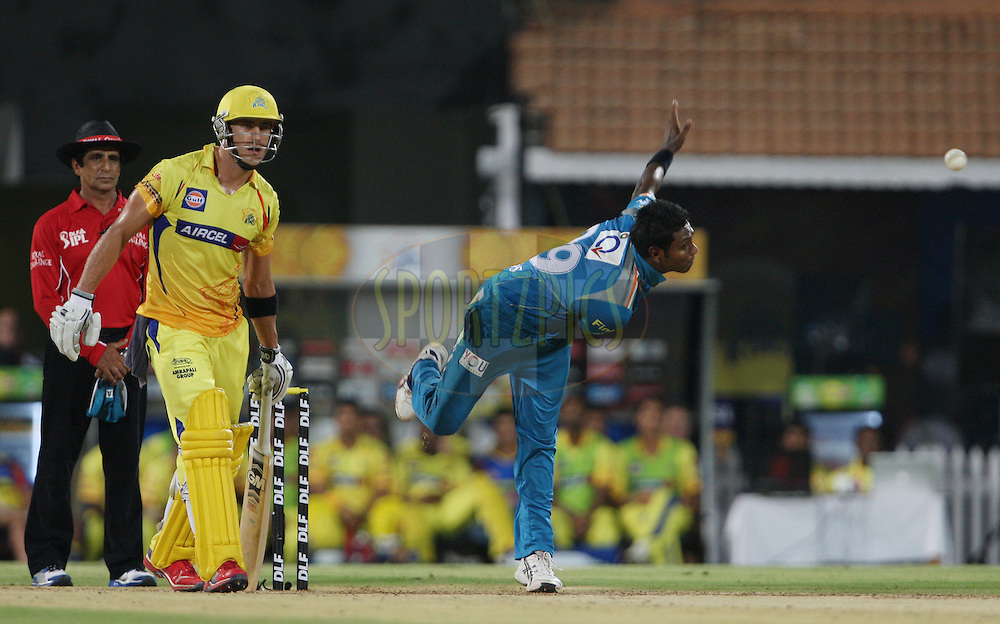 Angelo Mathews in his delivery stride during match 24 of the the Indian Premier League ( IPL) 2012  between The Chennai Superkings and the Pune Warriors India held at the M. A. Chidambaram Stadium, Chennai on the 19th April 2012..Photo by Jacques Rossouw/IPL/SPORTZPICS