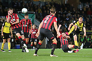 Burton Albion forward Liam Boyce (27) shoots at goal during the EFL Cup match between Burton Albion and Bournemouth at the Pirelli Stadium, Burton upon Trent, England on 25 September 2019.