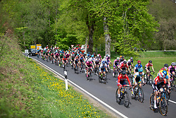 The peloton accelerates after a corner on Stage 1 of the Festival Elsy Jacobs - a 97.7 km road race, starting and finishing in Steinfort on April 28, 2018, in Luxembourg. (Photo by Balint Hamvas/Velofocus.com)