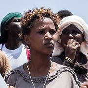 """ragazza eritrea durnate la manifestazione """"non finger print"""" a Lampedusa"""