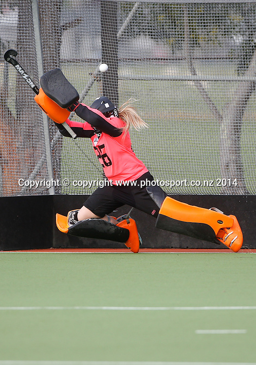 Auckland's Isla Bint is beaten by a shot Auckland v Midlands, Final - Womens National U18 Regional Hockey Tournament, Napier, New Zealand. Saturday, 12 July, 2014. Photo: John Cowpland / photosport.co.nz