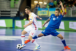 Alex of Spain and Vassoura of Azerbaijan during futsal match between National teams of Ukraine and Portugal at Day 6 of UEFA Futsal EURO 2018, on February 4, 2018 in Arena Stozice, Ljubljana, Slovenia. Photo by Urban Urbanc / Sportida