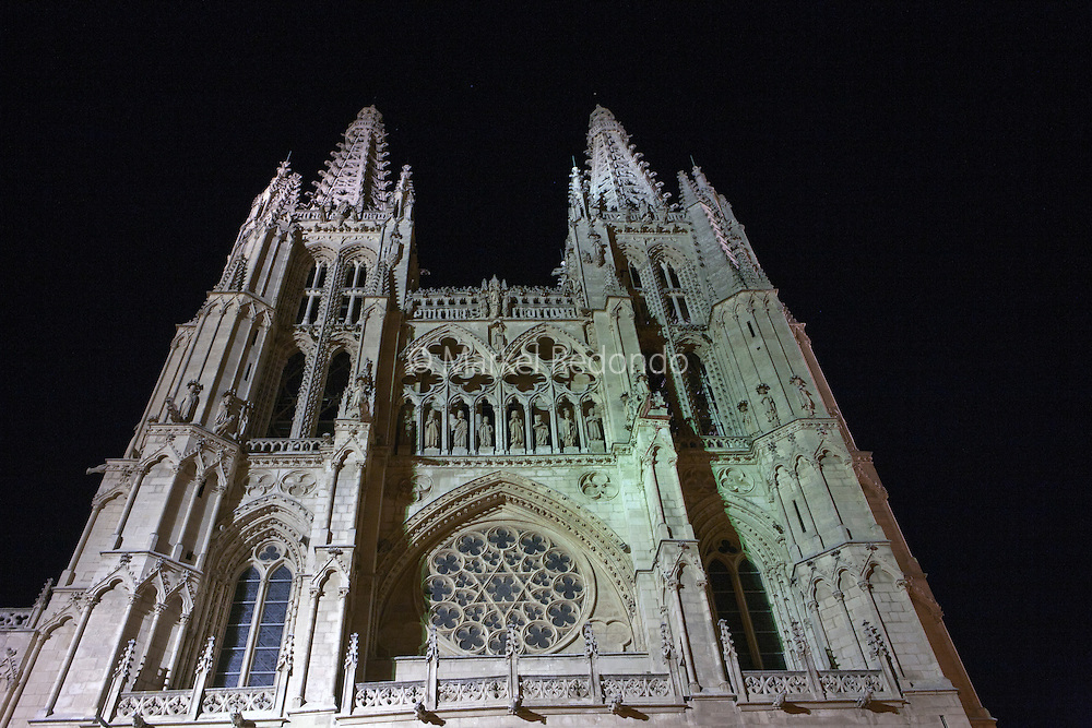 The cathedral of Burgos by night, Burgos, Spain.