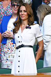 © Licensed to London News Pictures. 02/07/2019. London, UK. HRH The Duchess of Sussex watches center court tennis from the Royal Box on Day 2 of the Wimbledon Tennis Championships 2019 held at the All England Lawn Tennis and Croquet Club. Photo credit: Ray Tang/LNP