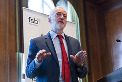 © Licensed to London News Pictures. 11/04/2017. LONDON, UK.  JEREMY CORBYN, the Labour party leader makes a speech to the Federation of Small Businesses.  Photo credit: Vickie Flores/LNP