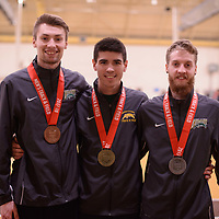 Greg Hetterley ,Shane Patmore and Alexander Eiswerth medalists during day 1 of the 2018 Canada West Track & Field Championship on February  23 at James Daly Fieldhouse. Credit: Arthur Ward/Arthur Images