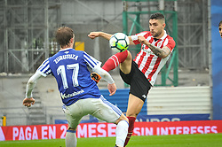 April 28, 2018 - San Sebastian, Spain - Cordoba of Athletic Club  duels for the ball with Zurutuza of Real Sociedad during the Spanish league football match between Real Sociedad and AtHletic Club Bilbao at the Anoeta Stadium on 28 April 2018 in San Sebastian, Spain  (Credit Image: © Jose Ignacio Unanue/NurPhoto via ZUMA Press)