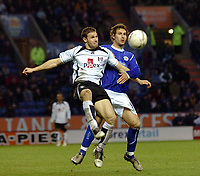 Photo: Kevin Poolman.<br />Leicester City v Fulham. The FA Cup. 06/01/2007. Fulham's Moritz Volz brings the ball down infront of Gareth Williams of Leicester.