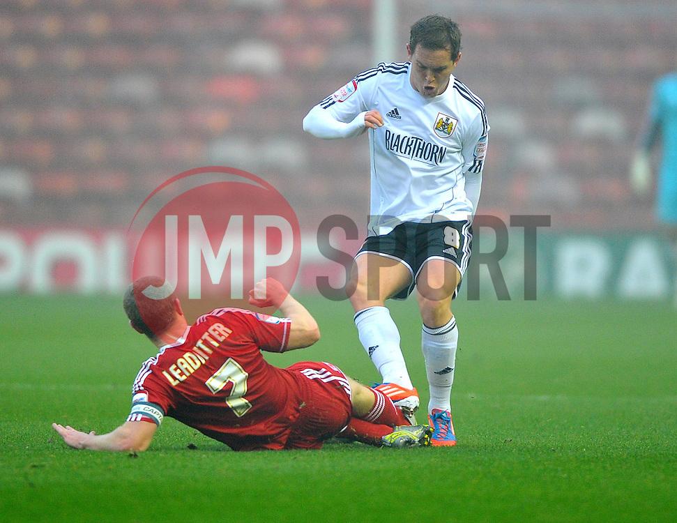 Middlesbrough's Grant Leadbitter tackles Bristol City's Neil Kilkenny - Photo mandatory by-line: Joe Meredith/JMP  - Tel: Mobile:07966 386802 24/11/2012 - Middlesbrough v Bristol City - SPORT - FOOTBALL - Championship -  Middlesbrough  - River Side Stadium