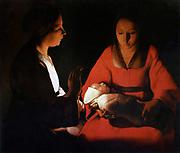 Georges de La Tour (1593 –  1652) French painter. Newborn Christ (Nativity), 1645-1648
