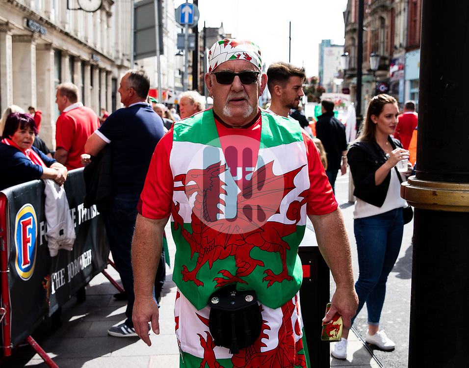A Wales fan enjoying the pre match atmosphere<br /> <br /> Photographer Simon King/Replay Images<br /> <br /> Friendly - Wales v Ireland - Saturday 31st August 2019 - Principality Stadium - Cardiff<br /> <br /> World Copyright © Replay Images . All rights reserved. info@replayimages.co.uk - http://replayimages.co.uk