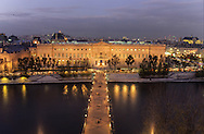 France. Paris. 6th district. Elevated view.  the seine river the art bridge , The Louvre museum. view from the l'institut de  bell tower.