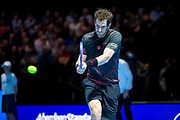 Andy Murray returns with a backhand during the Andy Murray Live event at SSE Hydro, Glasgow, Scotland on 7 November 2017. Photo by Craig Doyle.