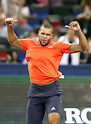 17.10.2015. Shanghai, China.  Jo-Wilfried Tsonga of France celebrates after winning Rafael Nadal of Spain during their semifinal match at the Shanghai Masters tennis tournament in Shanghai, east China, on Oct. 17, 2015. Jo-Wilfried Tsonga won 2-1.