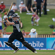 New Zealand batsperson Amy Satterthwaite in action during the Australia V New Zealand group A match at North Sydney Oval in the ICC Women's World Cup Cricket Tournament, in Sydney, Australia on March 8, 2009. New Zealand beat Australia by 13 runs in the (D/L method)  rain affected match. Photo Tim Clayton