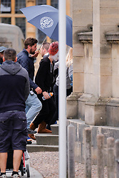 EXCLUSIVE: Margot Robbie as Queen Elizabeth I in Mary Queen Of Scots filming in Oxford today, exiting a van and heading to the film set, wearing uggs, and a white face. 30 Aug 2017 Pictured: Margot Robbie as Queen Elizabeth I. Photo credit: Squirel/ MEGA TheMegaAgency.com +1 888 505 6342