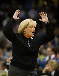 Virginia head coach Debbie Ryan expresses her displeasure with a call during a women's basketball game against ODU.  The #11 ranked / #5 seed Old Dominion Lady Monarchs defeated the #24 ranked / #4 seed Virginia Cavaliers 88-85 in overtime in the second round of the 2008 NCAA Women's Basketball Championship at the Ted Constant Convocation Center in Norfolk, VA on March 25, 2008.