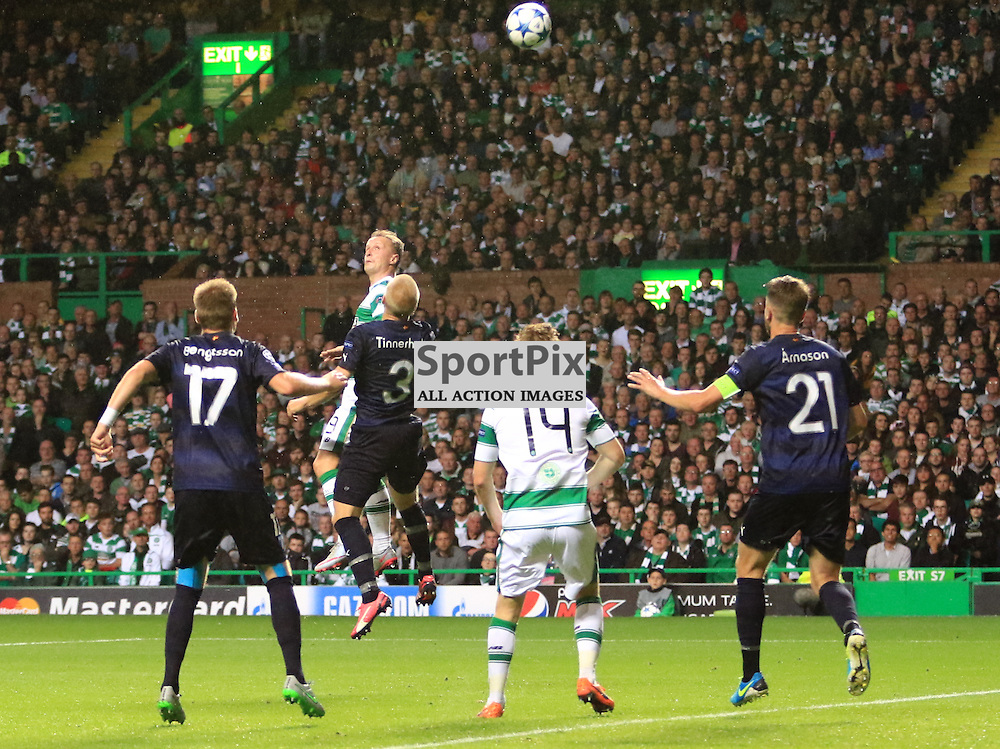 Celtic's Leigh Griffiths scores the third goal during the Glasgow Celtic FC v Malmö FF Champions League Play-Off  19th August 2015 ©Edward Linton | SportPix.org.uk