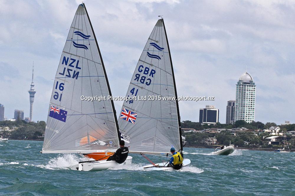 Andrew Murdoch (NZL) chases Series leader Giles Scott (GBR) Race 9  Finn Gold Cup Takapuna